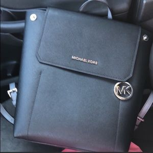 Auth Black Leather Michael Kors Backpack Purse